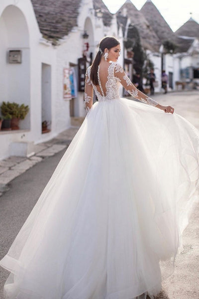 sheer-long-sleeves-bridal-dress-wedding-tulle-skirt-1