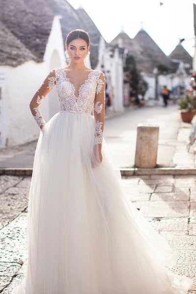 sheer-long-sleeves-bridal-dress-wedding-tulle-skirt