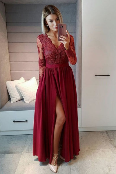 sheer-long-sleeves-prom-dress-with-lace-v-neckline-1