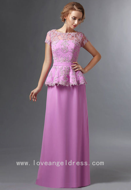 Purple Mermaid Mother of the Bride Lace Dresses with Sleeves
