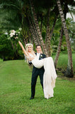 Sheer Plunging V-neck Lace Mermaid Bridal Gown