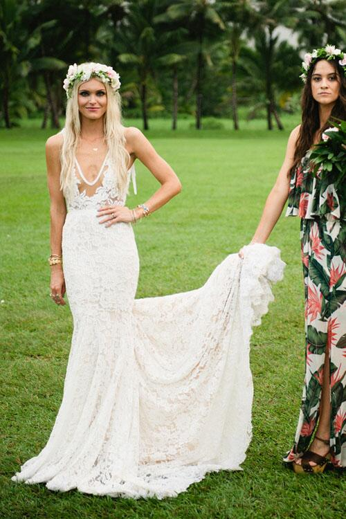 sheer-plunging-v-neck-lace-mermaid-bridal-gown