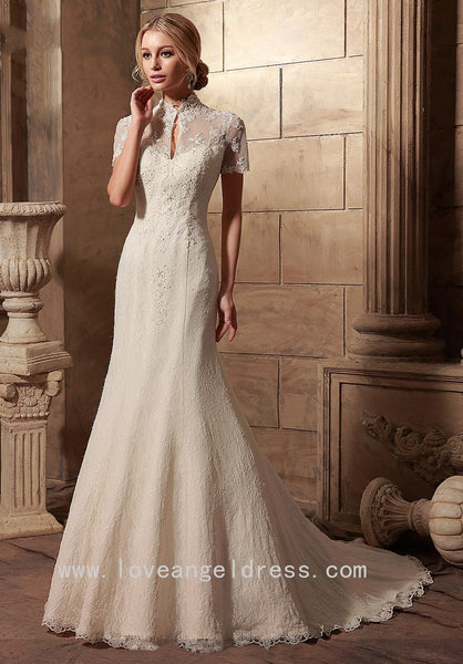 Lace Vintage Wedding Dress.Sheer Short Sleeves Lace Vintage Wedding Gowns Dress With High Neck