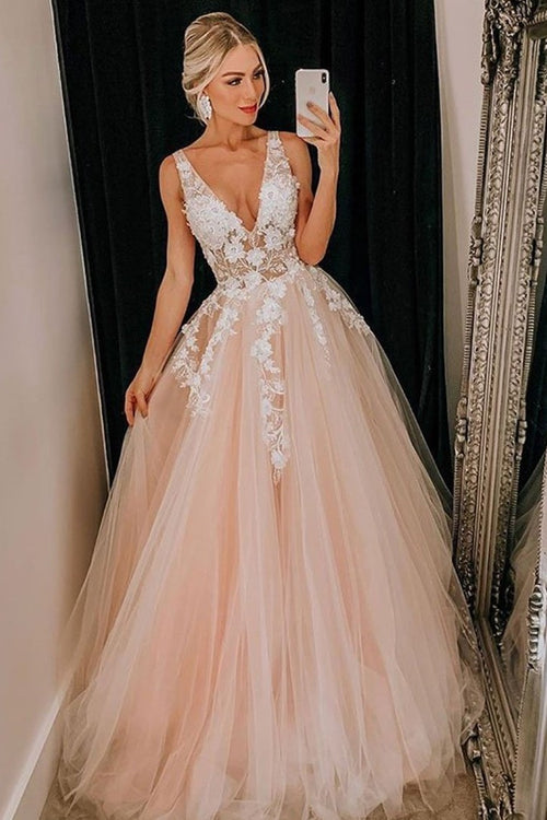 sheer-v-neckline-lace-blush-pink-wedding-dress-tulle-skirt