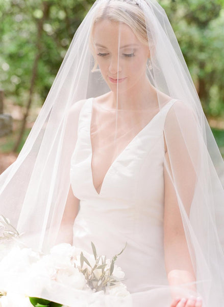 Sheer V-neckline Satin Sheath Wedding Gown with Ruffles Back