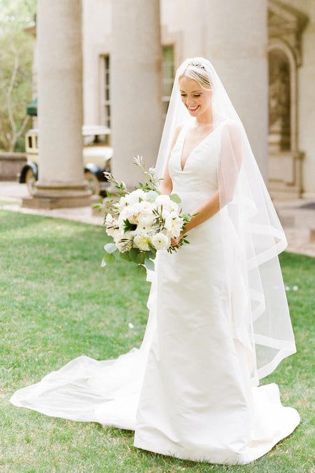Simple Satin Bridal Gown with Cap Sleeves