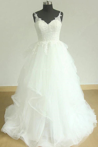 83d28b40d3f Shimmering Wedding Dress with Lace Straps and Horsehair Trim Skirt –  loveangeldress