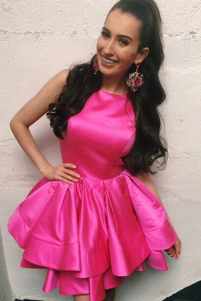 limited quantity 60% discount how to choose Short Hot Pink Homecoming Dresses for Sale Sleeveless Tiered Skirt