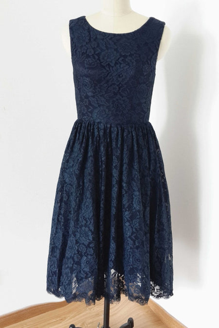 Dark Navy Bridesmaid Dress Short Wedding Party Gown Simple