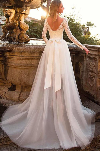 Short Lace Wedding Dress.Short Lace Wedding Dresses With Detachable Tulle Skirt