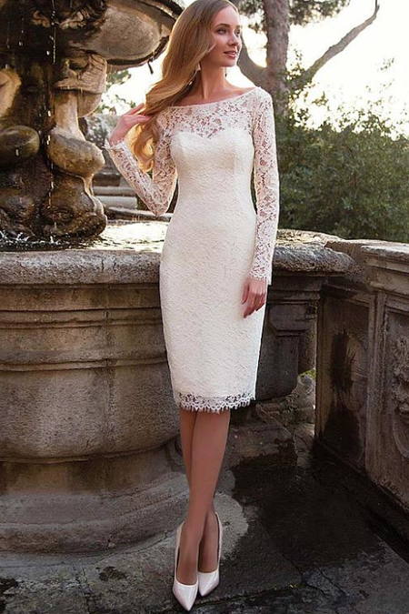 Beautiful Lace Brazilian Wedding Dress with Sheer Bead Neckline