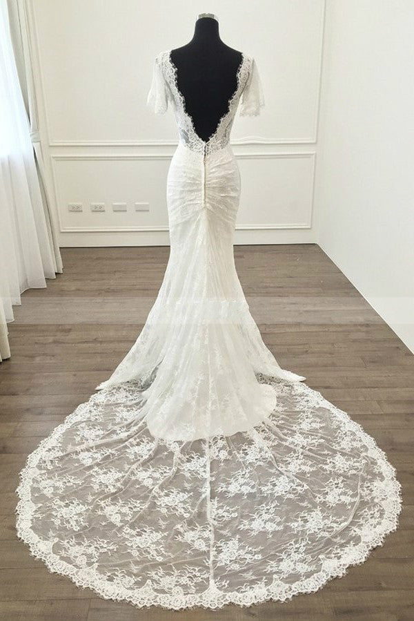 short-sleeves-lace-wedding-dress-mermaid-style-1