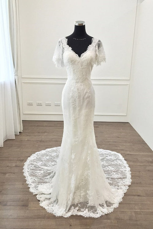 short-sleeves-lace-wedding-dress-mermaid-style