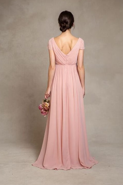 short-sleeves-pink-chiffon-bridesmaid-dress-v-neckline-1