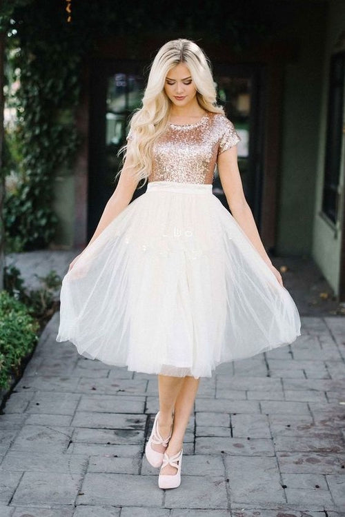 short-sleeves-rose-gold-sequin-homecoming-dress-with-tulle-skirt