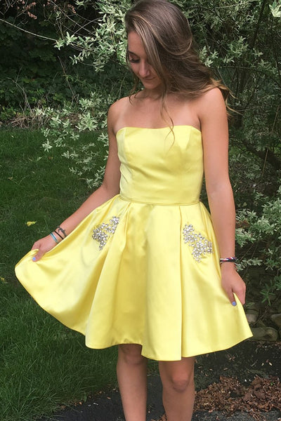 short-yellow-cocktail-party-gown-with-rhinestones-pockets