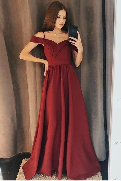 simple-burgundy-evening-gown-with-off-the-shoulder