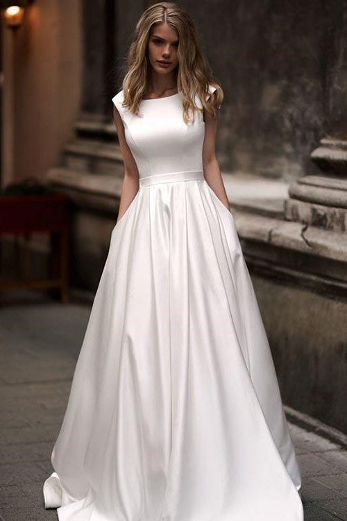 Simple Long Satin A-line Wedding Dresses with Pockets