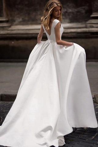 A Line Wedding Dresses.Simple Long Satin A Line Wedding Dresses With Pockets