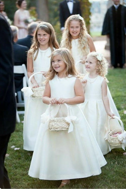 simple-satin-a-line-ivory-flower-girls-dresses-pattern