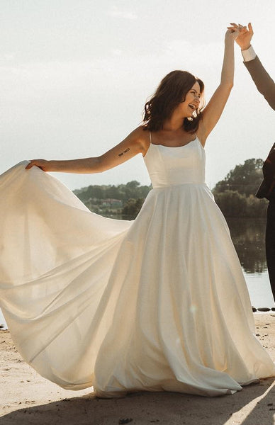 simple-satin-boho-wedding-dresses-with-ribbon-belt