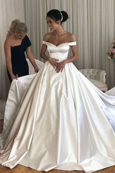 simple-satin-bridal-gowns-long-train-with-off-the-shoulder