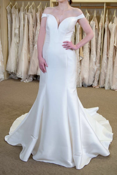 5b51ed617ced Simple Satin Fit&Flare Wedding Bridal Gown with Off-the-shoulder ...
