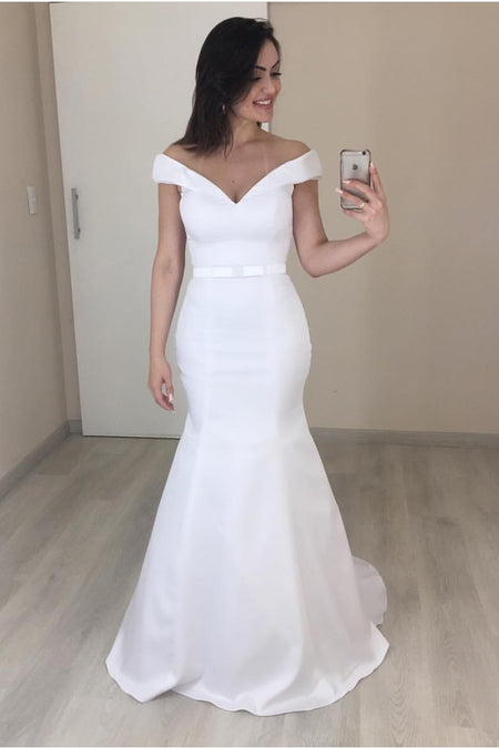 Off-the-shoulder Mermaid Satin Weding Dress with Attached Train