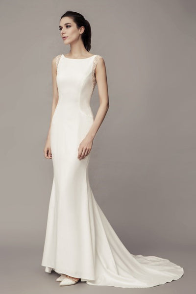 78cb5a6b69 Simple Satin Wedding Dresses with Beaded Backless – loveangeldress -