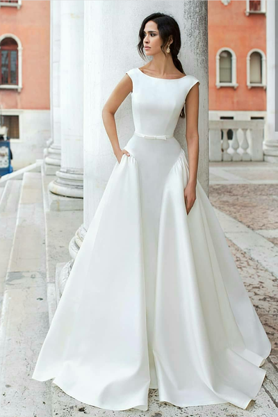 Wedding Dress With Pockets.Simple Sophisticated Satin Wedding Dress With Pockets