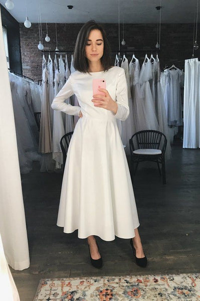simple-tea-length-casual-wedding-dress-with-long-sleeves