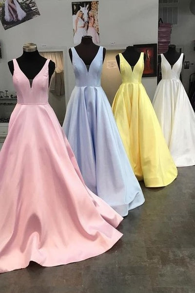simple-yellow-satin-prom-dresses-with-v-neckline-3
