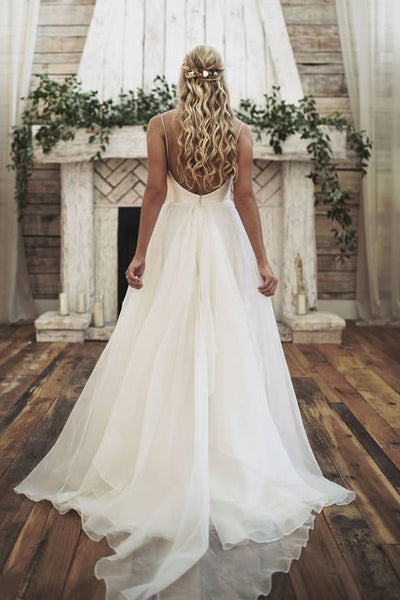 Simply Satin Backless Forest Themed Wedding Dresses with ...