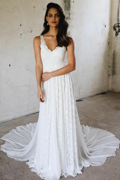11cb4d8c4cf Sleeveless Chiffon and Lace Beach Summer Wedding Dress 2019 – loveangeldress