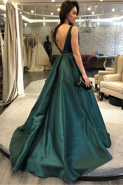 sleeveless-dark-green-formal-evening-gown-with-beaded-belt-1