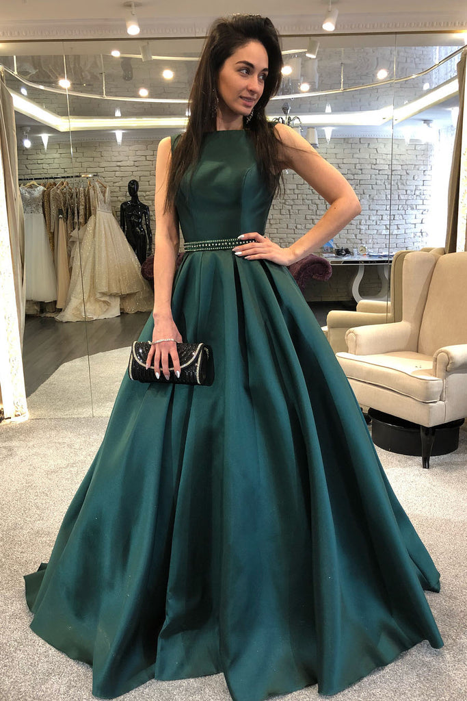 Sleeveless Dark Green Formal Evening Gown with Beaded Belt ...