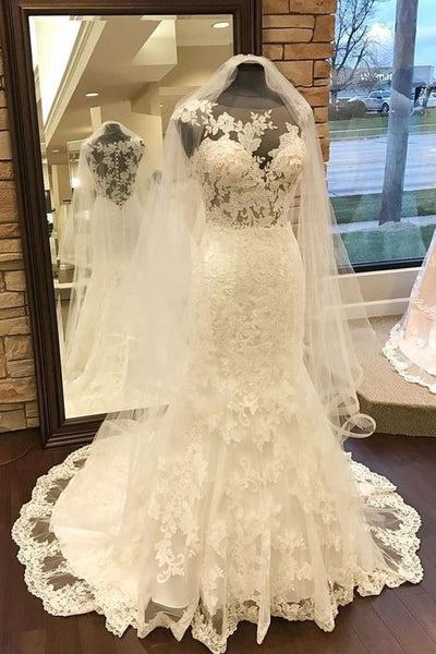 sleeveless-fit&flare-wedding-gowns-lace-sheer-neckline