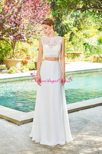 sleeveless-illusion-neckline-lace-two-piece-wedding-dresses