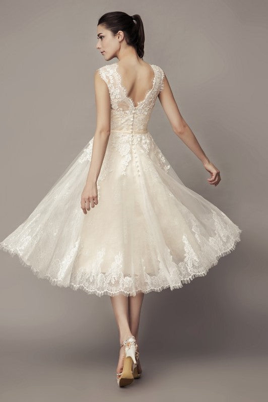 sleeveless-lace-short-wedding-dresses-with-belt-hochzeitskleid-1