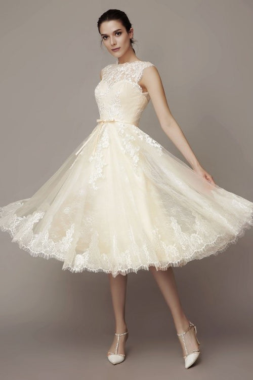 sleeveless-lace-short-wedding-dresses-with-belt-hochzeitskleid