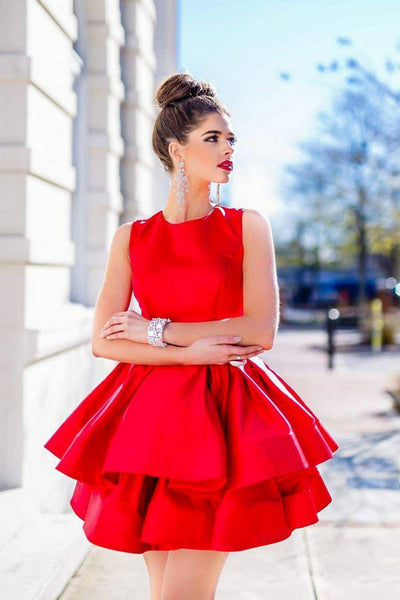 5f85df591 Sleeveless Satin Short Red Homecoming Gowns with Tiered Skirt –  loveangeldress
