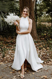 sleeveless-satin-simple-wedding-dresses-with-divided-skirt