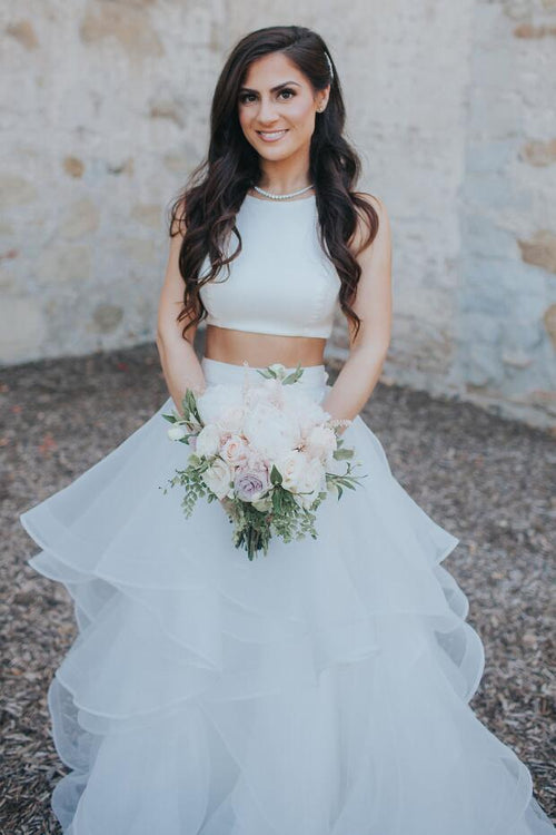 two-piece-wedding-dress-with-ruffles-skirt