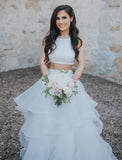 sleeveless-two-piece-wedding-dress-with-ruffles-skirt