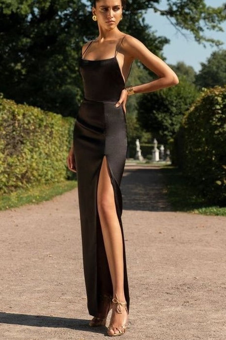 Sweetheart Satin Black Prom Evening Gown with Pockets