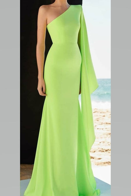 Beaded Crystals Green Prom Dresses with Off-the-shoulder