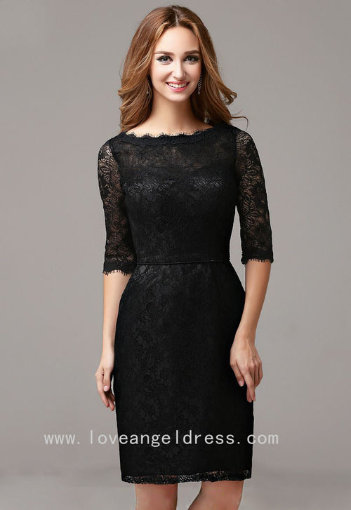 slim-short-black-lace-cocktail-dress-with-half-sleeves-vestido-de-coctail