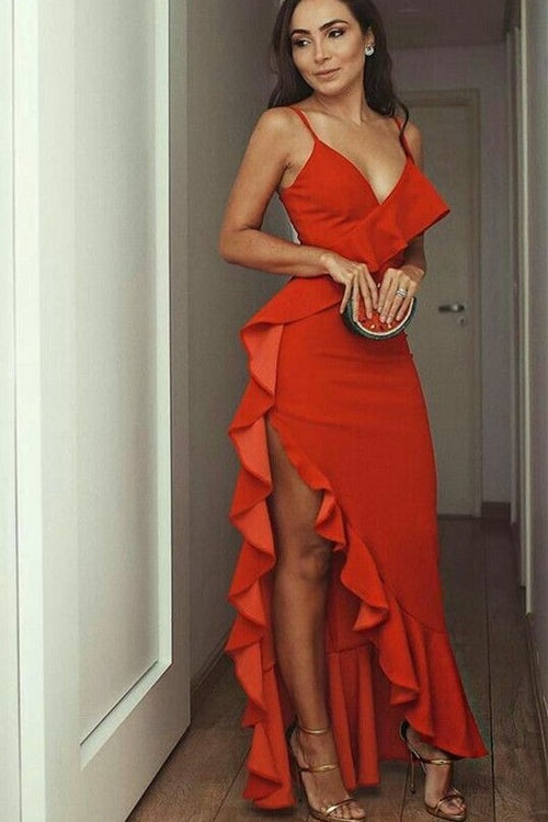 spaghetti-straps-flounce-prom-dress-with-plunging-neckline