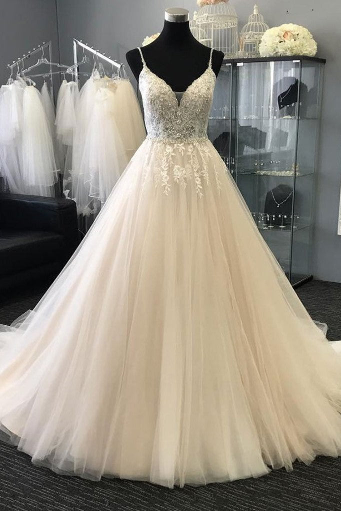 6c01c0a431b Spaghetti Straps Ivory Wedding Gowns with Pearls Beaded Bodice ...