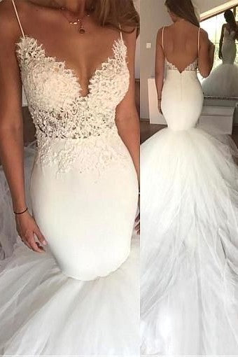 spaghetti-straps-lace-mermaid-wedding-gown-tulle-skirt-1